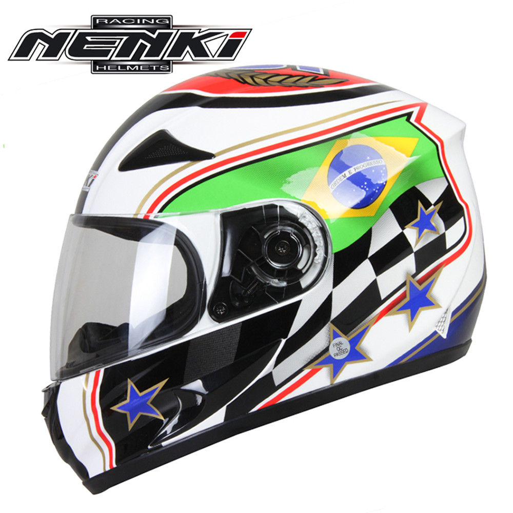 NENKI Full Face Motorcycle Helmet Capacete da Motocicleta Cascos Moto Casque Kask 816g Racing Riding Men Women Helmet Brazil лонгслив синий hugo boss ут 00007186