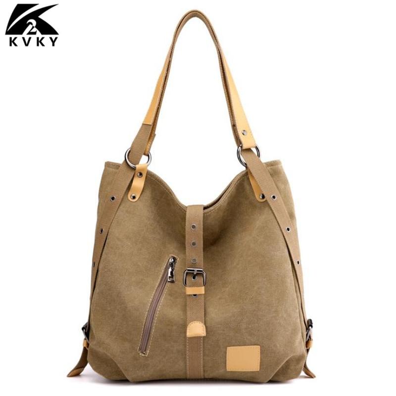Canvas Women Handbag Casual Large Capacity Hobos Female Totes Vintage Solid Woman Shoulder Bag