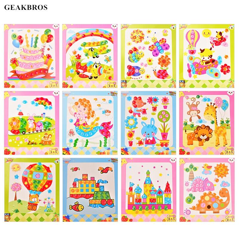 12pcs/lot Button Puzzle Stickers Handmade DIY Toys For Children Montessori Speelgoed Brinquedo Brinquedos Juguetes Oyuncak Gift