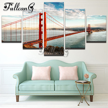 FULLCANG 5 piece diy diamond painting golden gate bridge full square/round drill 5d mosaic embroidery multi-picture decor FC678