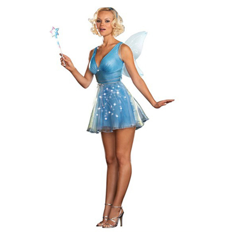 Sexy forest blue fairy Halloween costume with wing alice in wonderland fairy cosplay costume in carnival Beuatiful cosplay suit
