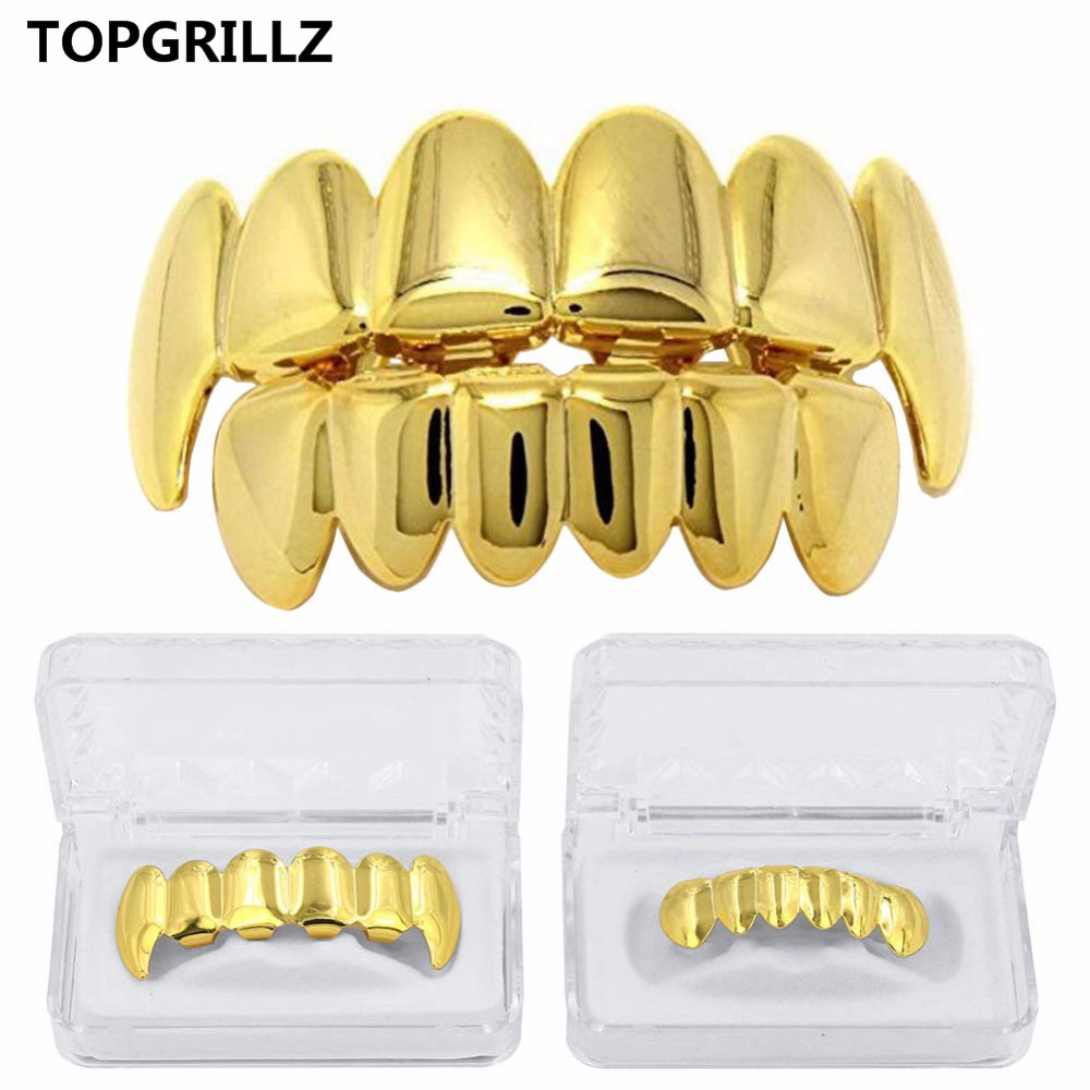 New Custom Fit Rose Gold Color Plated Hip Hop Teeth Grillz Caps Top&Bottom Grill Set for Christmas Party Vampire Tooth Grillz
