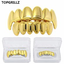 New Custom Fit Rose Gold Color Plated Hip Hop Teeth Grillz Caps Top&Bottom Grill Set for Christmas Party Vampire Tooth Grillz(China)