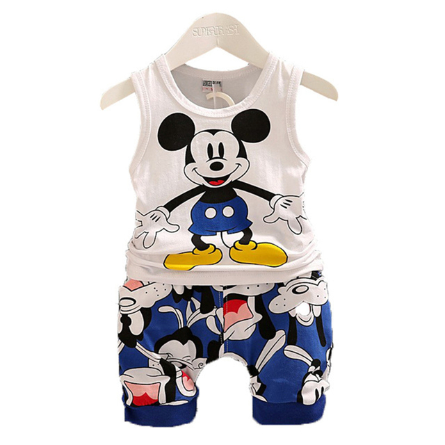 Bé mùa hè bé trai Bộ Quần Áo Hoạt Hình Mickey Minnie bé trai Thun Quần Short 2 chiếc quần áo Bộ Quần Áo Trẻ Em Thể Thao Thời Trang phù hợp với