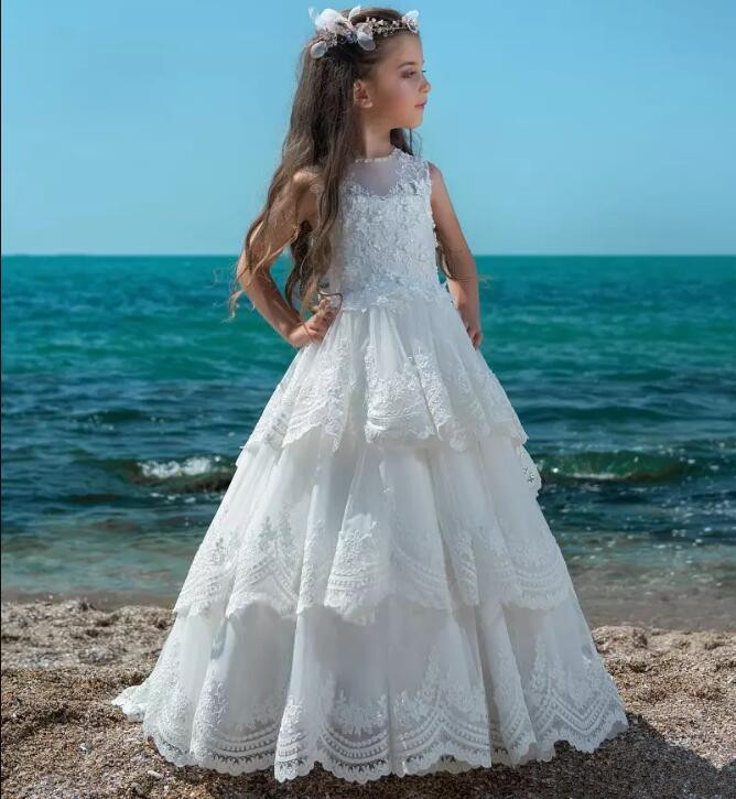 New White Fluffy Flower Girl Dresses Jewel Neck Hollow Back Kids Lace Tiered Tulle Girls Pageant Gown Any Size