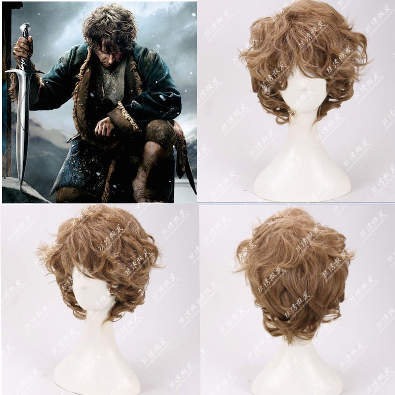 The Lord Of The Rings Bilbo Baggins The Hobbit Cosplay Wig Brown Curly Synthetic Hair Role Play Costume Wigs+Wig Cap