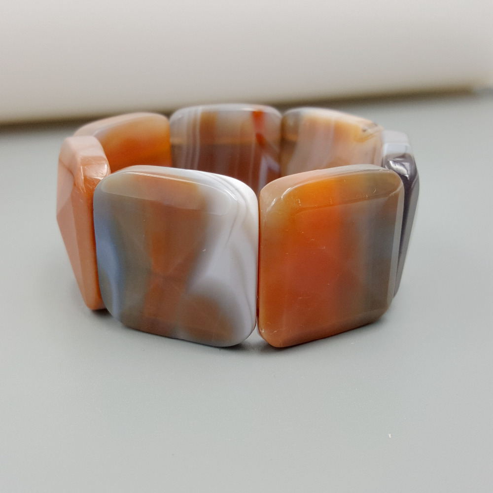 Natural Stone Crystal Agates Big Bracelet Stone Size 30x30mm Total size about 7.5'' 2