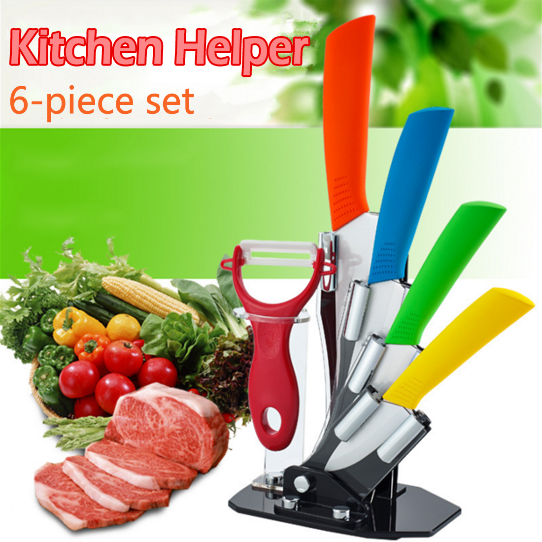 ceramic knife set 3 4 5 6 inch peeler with acrylic knife holder zirconia ceramics blade kitchen knife