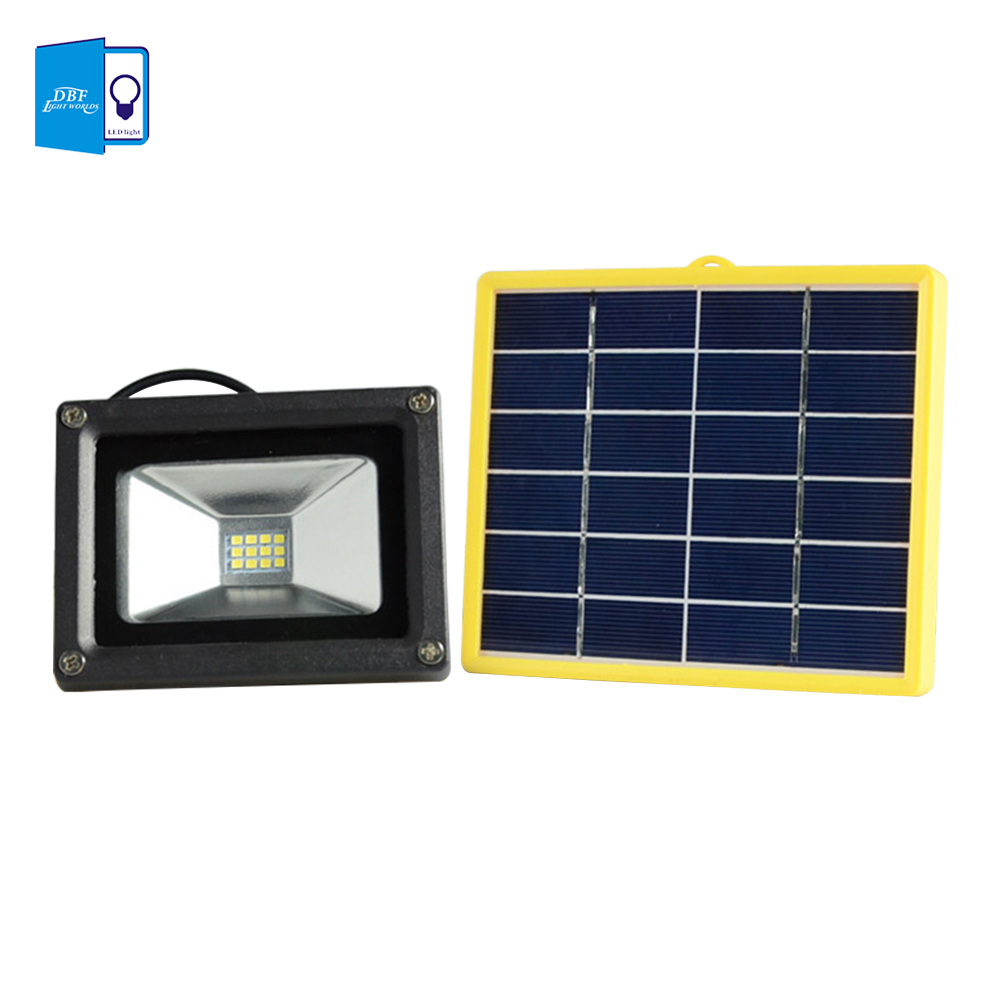 Dbf Waterproof 10w Solar Powered Led Flood Light With 5m