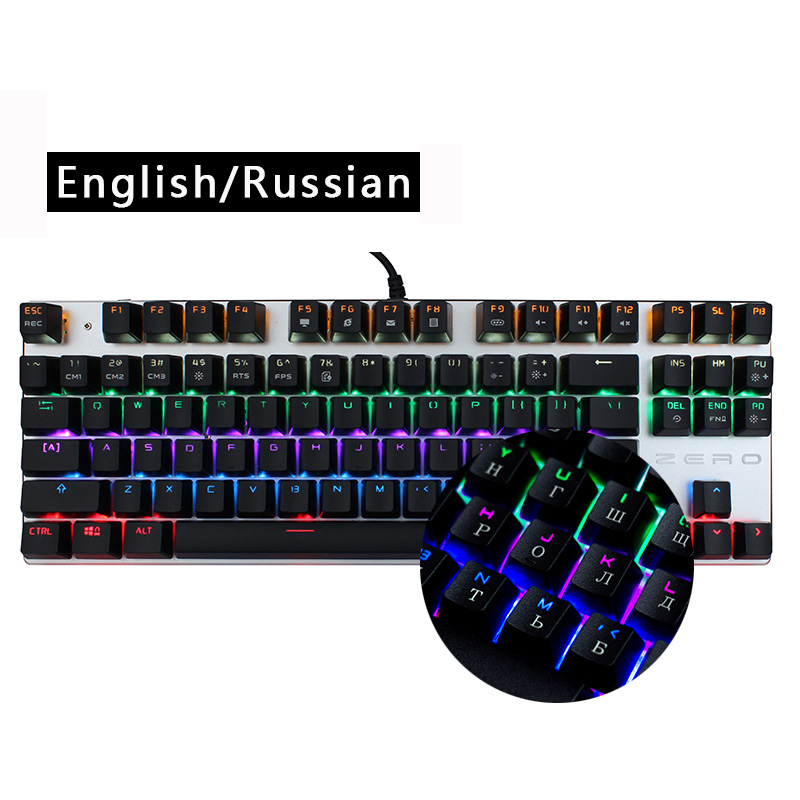 Me too Genuine Gaming Mechanical Keyboard 87/104 keys Blue/Black Switch LED Backlit Metal Keyboard Russian/English for PC Gamer