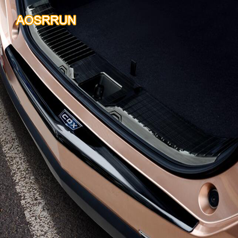 AOSRRUN After the stainless steel backboard of the guard board the rear guard plate Car accessories For Acura CDX 2016 2017 built guard bump guard plate after the pedal steel trunk for 2011 2012 2013 2014 vw volkswagen polo hatchback