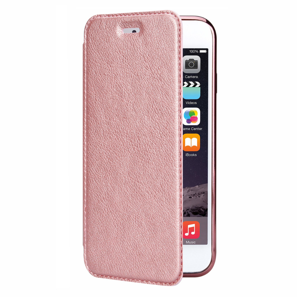 Yokata Leather Flip Case For iPhone 7 6 6s 6 Plus 5 5s SE Luxury Rose Gold Plating Plate Coque Flip Back Clear 360 All Cover in Flip Cases from Cellphones Telecommunications