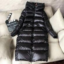 2019 zimowa długa kurtka 90% biała kurtka puchowa kobiety gruby ciepły długi płaszcz zimowy kobiety z kapturem damskie zimowe ocieplane kurtki