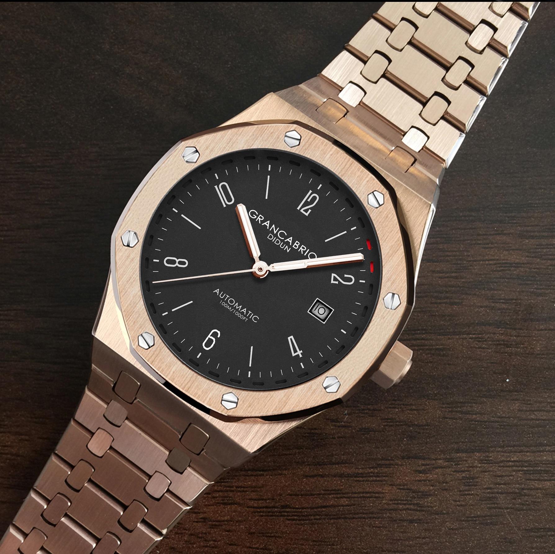 Didun 남자 자동 기계식 시계 톱 브랜드 럭셔리 시계 남자 철강 육군 군사 시계 남성 비즈니스 방수 손목 시계-에서기계식 시계부터 시계 의  그룹 1