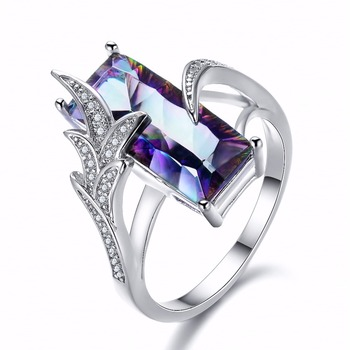 Beautiful Rainbow Mystic Zircon For Women White Gold Filled Rings For Valentine's Day