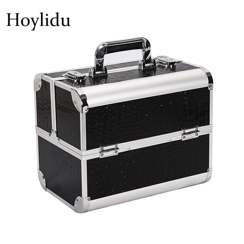 Professional Makeup Boxes Women Double Open Cosmetic Case Fashion Quality Aluminium Alloy Large Capacity Multi layer Jewelry Box
