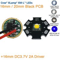 Cree XML XM L T6 Kalten Weiß Neutral Weiß Warm Weiß 10 watt High Power LED Emitter 16mm Schwarz PCB + 16mm DC3.7V 2A Fahrer 5 Modi-in Leuchtperlen aus Licht & Beleuchtung bei