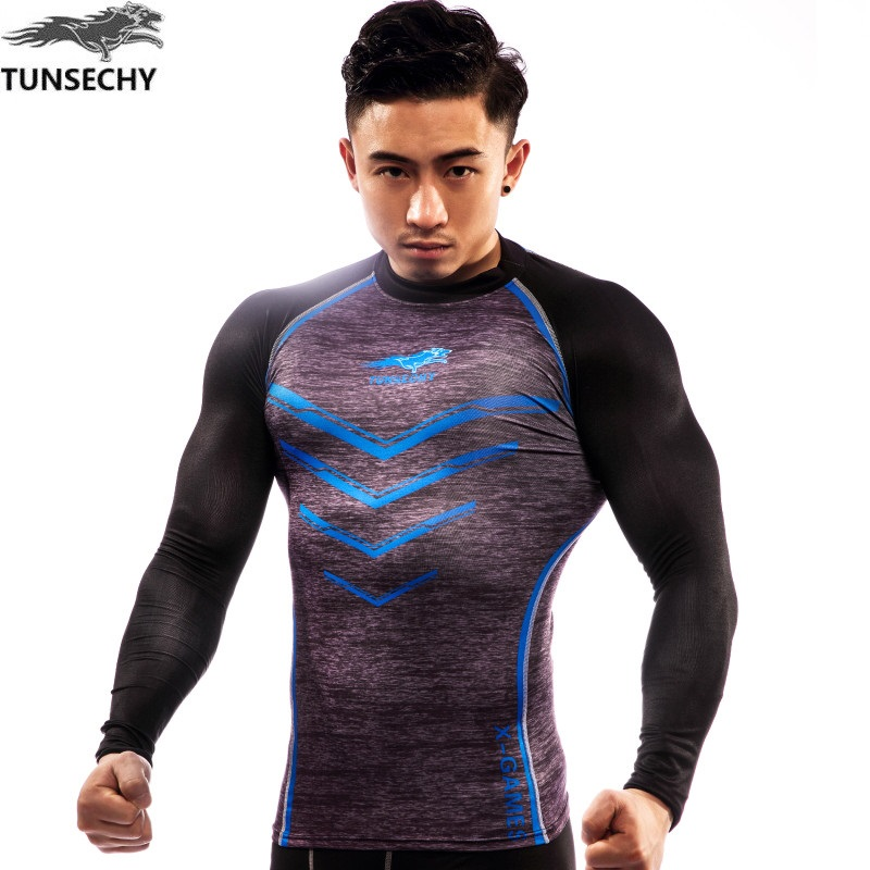 New 2017 TUNSECHY brand original design picture tight fitness men long sleeve T-shirt fashion T-shirt