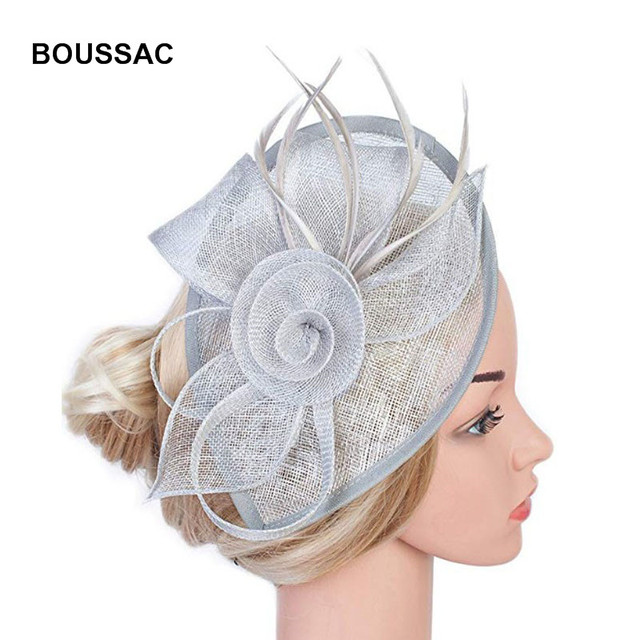 Philippines Sinamay hair Fascinators headband flower fedora hats Wedding  Evening Party Derby chapeau cap With Feather Hair Clip 711d25f9095