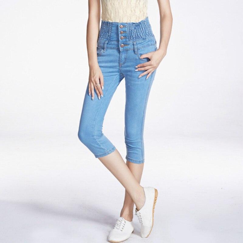 High Waist Women Jeans Skinny Calf Length Pants Button Fly Blue Elasticity Plus Size Jeans Pocket Ladies Denim Shorts 26-40 6XL