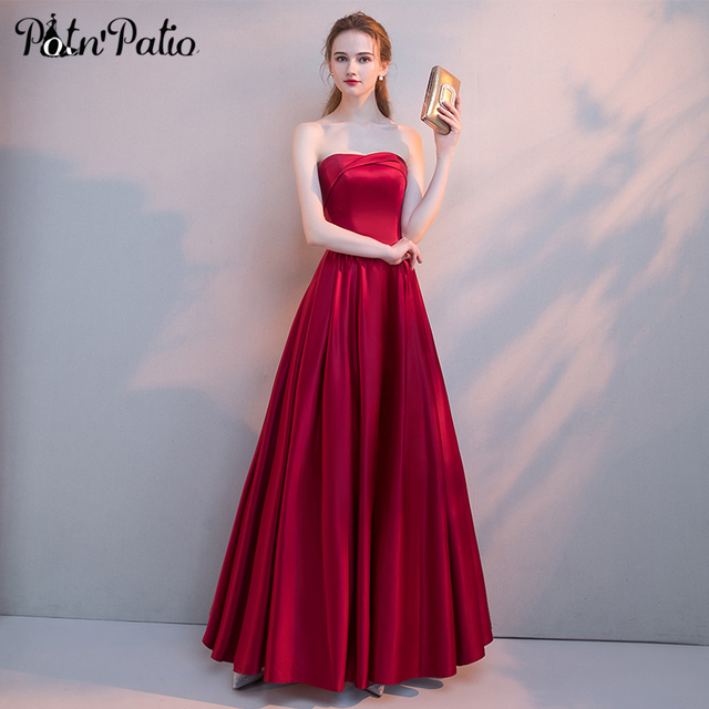 ef0d3690cdb0 Elegant Burgundy Long Satin Prom Dress 2018 New Arrival Simple Sexy  Strapless off shoulder Lace Up Open Back Formal Party Gowns