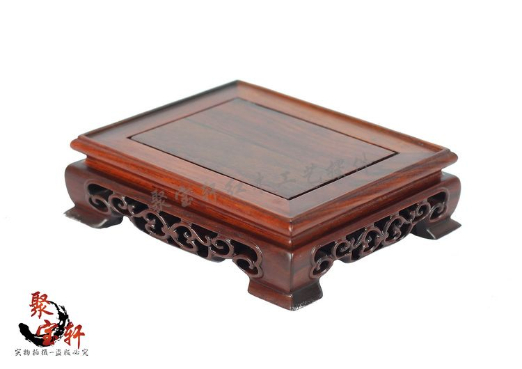 Annatto square seal base solid wood carving decoration stone Buddha vase handicraft furnishing articles red wood elliptical solid wood household act the role ofing is tasted vase of buddha planter base handicraft furnishing articles