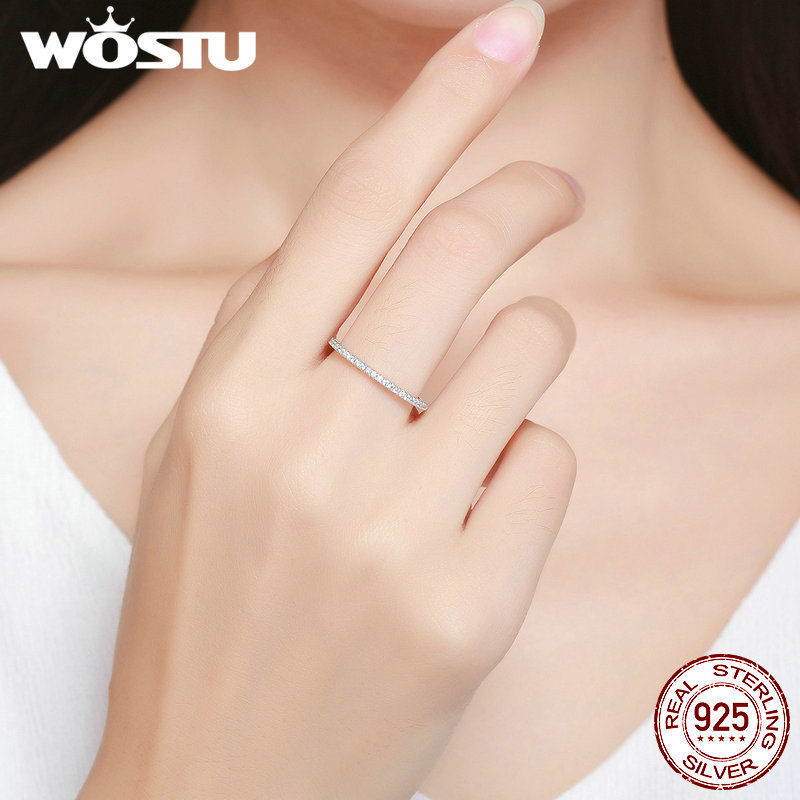 Image 3 - WOSTU Fashionable Stackable Ring 100% 925 Sterling Silver Circle Geometric Rings Zircon For Women Wedding Jewelry Gift FIR066rings for women weddingfashion rings for womenrings for women -