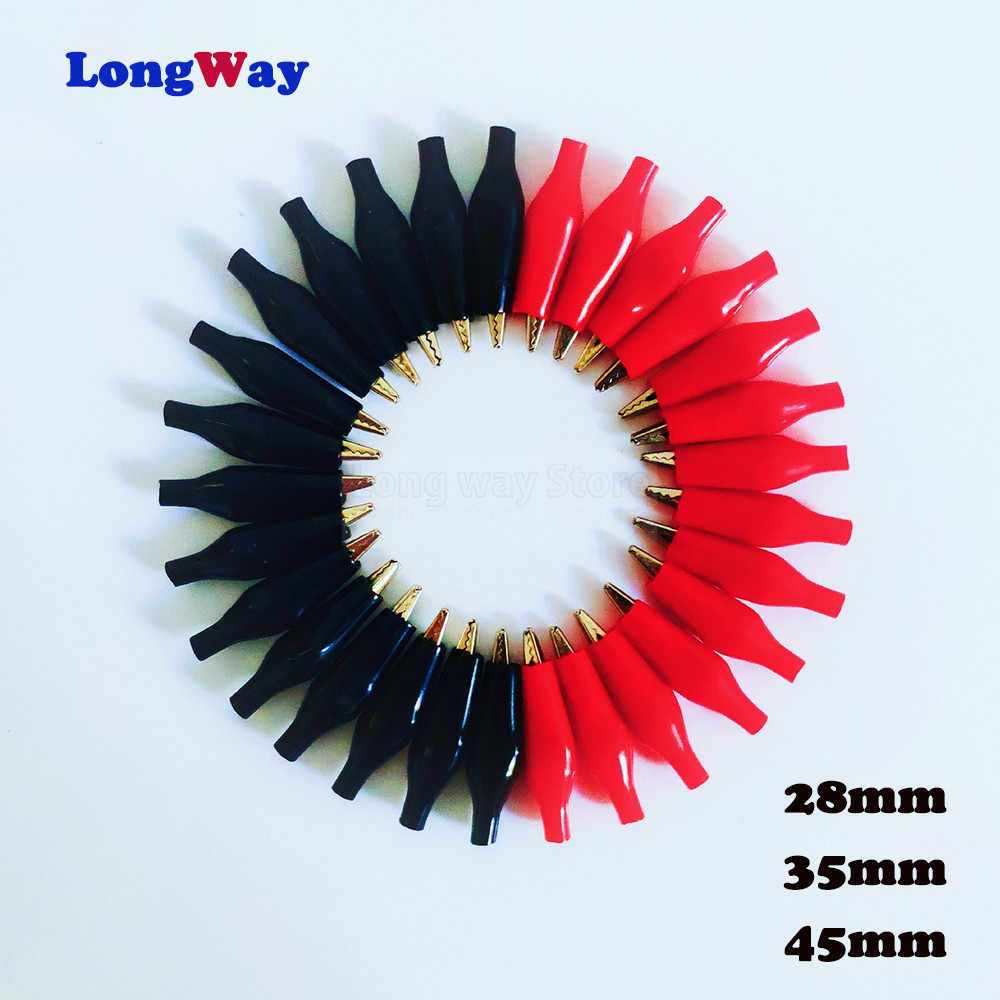 2-10pcs/lot Metal Alligator Clip G98 Electrical Clamp for Testing Probe Meter Black and Red with Plastic Boot Crocodile Clip