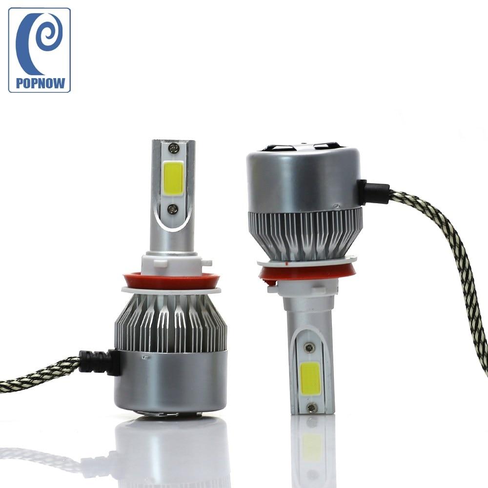 POPNOW H8 H9 LED Bulb Car LED Headlight Bulb H11 COB 7600LM 72W 6000K White H9 H8 Fog Light Truck Car Head Lamp#7050