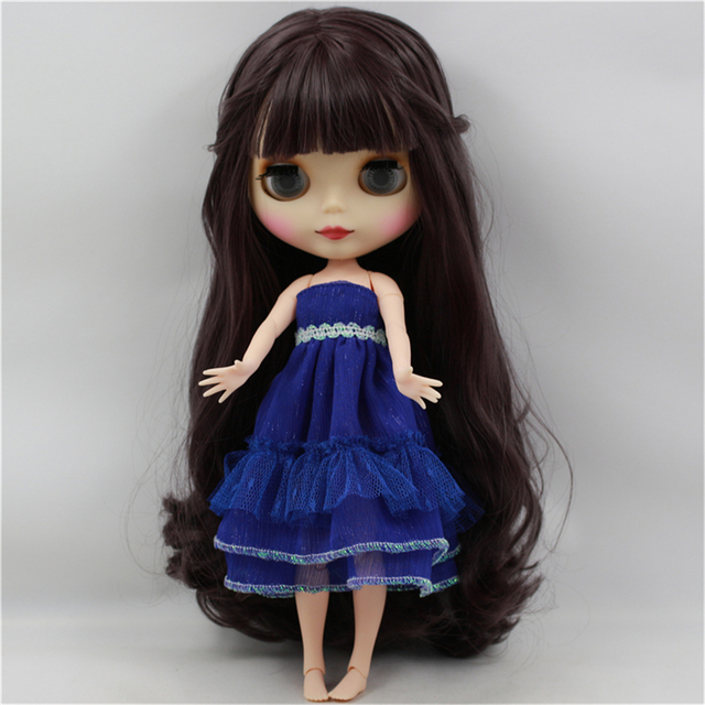 Blyth Doll Nude White Skin Deep Purple Long Wavy Hair With Bangs Matte Face Joint Body bjd DIY girl toy gift No.300BL9219  2
