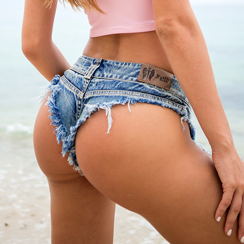 1st kvinnors sexiga super denim shorts 2019 Sommar denim bomull G-string shorts Ladies Skinny Sexy klubb super korta jeans Girls