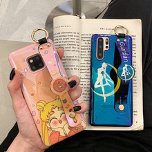 лучшая цена wristband tpu case for huawei P30 P20 pro mate 20 pro nova 4 3 case cover cute cartoon blue ray soft silicon phone bag capa fund