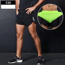 Męskie sportowe szorty do biegania trening ćwiczenia Jogging krótkie spodnie 2 w 1 maraton szorty człowiek krótka, sportowa krótka Deportivo Hombre