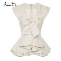 Kinikiss Summer 2017 New Female Blouse Apparel Apricot Sleeveless Falbala Bowknot Zipper Spring Women Tops Sexy