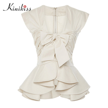 Kinikiss 2017 Лето Новый женский блузка Одежда Абрикос рукавов Falbala бантом на молнии весенние женские топы сексуальные модные блузы
