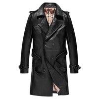 Натуральная кожа куртка длинная Классическая дизайнерская коровья кожа кожаная куртка Настоящая Натуральная Мужская Тренч и пальто двубо