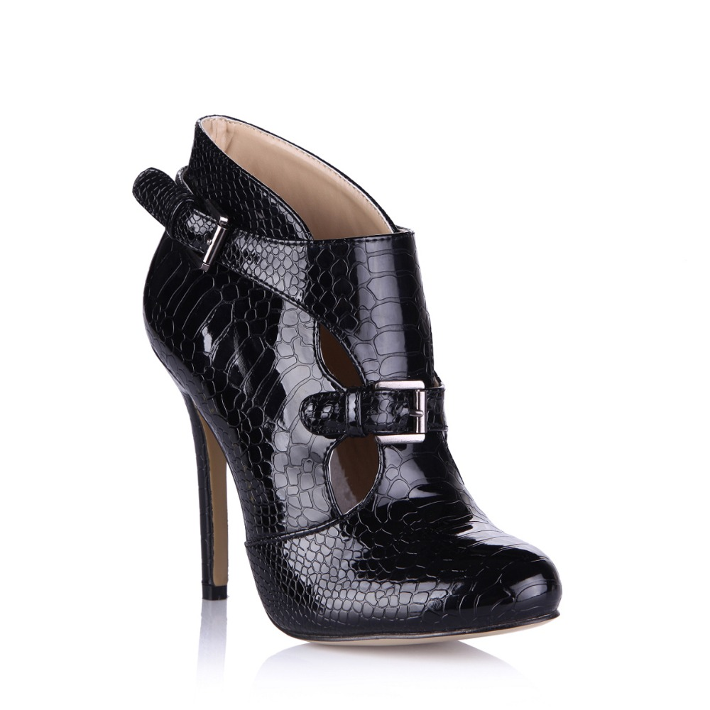 ФОТО New Autumn Women Boots Fashion Black Crocodile Leather Ankle Buckle Boots Spring Woman Shoes Woman Sexy High Heels Pumps booties