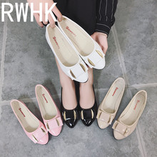 RWHK 2019 spring and summer new Korean version of the low to help shallow mouth belt buckle flat shoes single wild B444