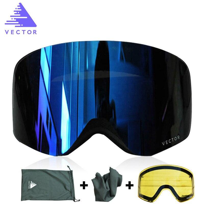 Hommes hiver lunettes de Ski avec UV400 Anti-buée Double lentille grandes lunettes sphériques femmes neige Snowboard Ski lunettes + jaune lentille ensemble