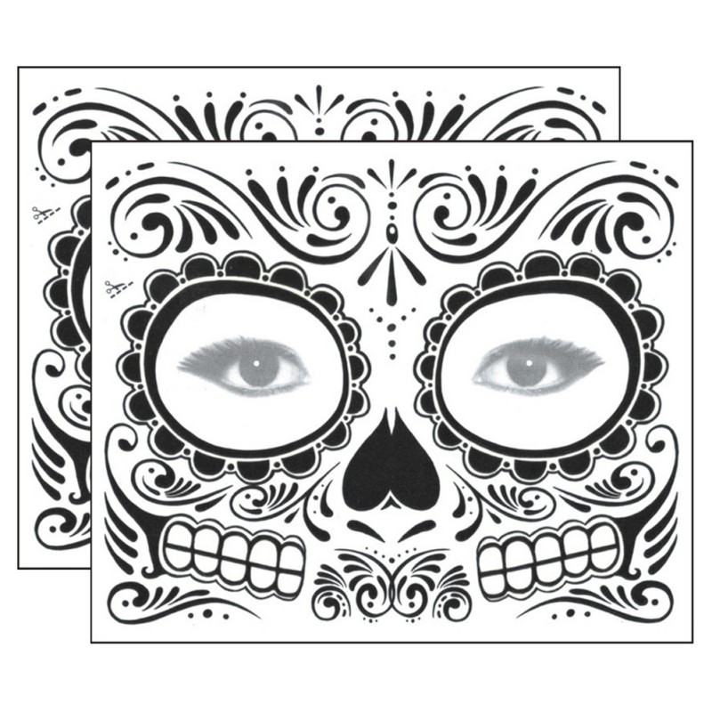 Long Lasting Waterproof Fake Temporary Tattoos Sticker Skull Face Mask Tattoo for Women  Easy to Remove New 2018 skull style half face mask bronze