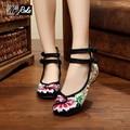 Новая Коллекция Весна тонкий ретро цветок вышивка квартиры обувь женская обувь белье для женщин дамы моды случайные квартиры обувь оксфорды