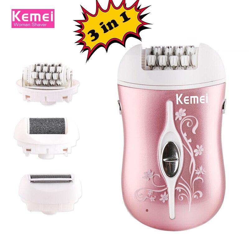 Kemei rechargeable 3 en 1 lady épilateur électrique cheveux remover dispositif depilador cheveux rasoir retrait pour femmes soins des pieds outil