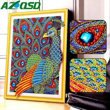AZQSD 5D Diamond Painting Peacock Special Shape Embroidery Mosaic Animal Kits Rhinestone Picture Cross Stitch