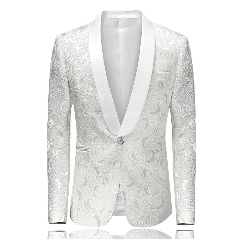 2019 White Blazer For Men Floral Tuxedos Wedding Dress