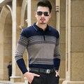 Suéter de otoño 2016 Nueva Slim Fit Estilo Polo Para Hombre Suéteres Remiendo de La Manera del Color de Punto Jerseys Prendas de punto de la Masculina 8XL-M