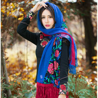 Blue Charm Scarf Vintage Warm Flower Bohemian Shape Chiffon Rayon Microfiber Scarves Wraps Shawl For Women