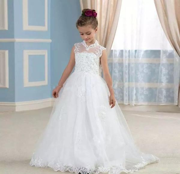 купить 2018 Flower Girl Dresses A Line White Ivory Girls Pageant Dresses With Lace Applique For Wedding Communion Gown онлайн