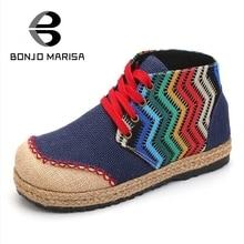 BONJOMARISA Hemp Strip Women Flats Vintage Lace Up Color Mixed Round Toe Platform Shoes 2017 New