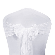 100pcs White Ivory Black Red Royal Blue for Events Lace Chair Sash Bow Tie Weddings Decoration