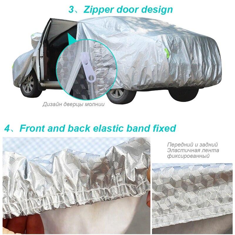 Buildremen2 Épaisse Couverture De Voiture 3 Couche En Aluminium Feuille + Polyester Taffetas + Coton Étanche Soleil Pluie Résistant À La Grêle Auto Couverture - 5